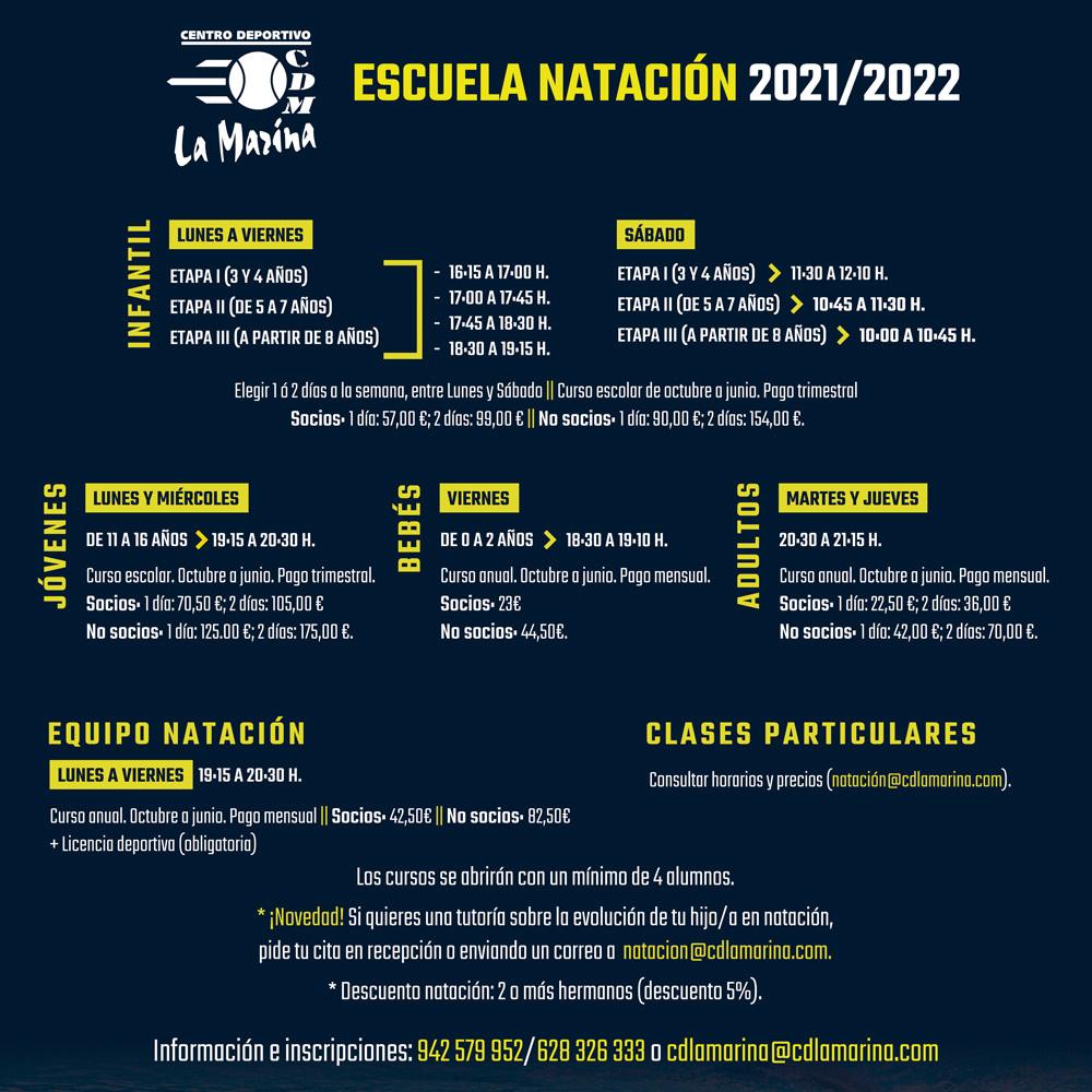 Nuevo horario Escuela de Natación 2021/2022