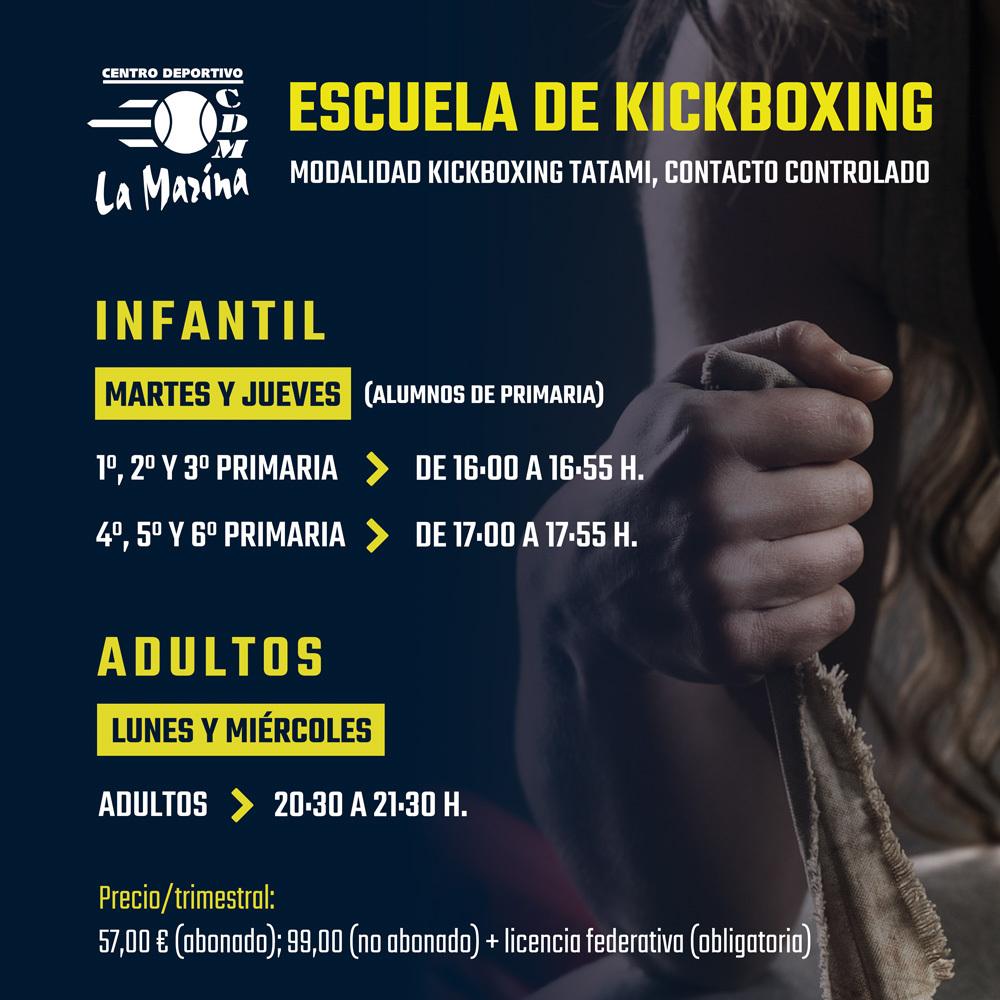 Nuevo horario Escuela de Kickboxing 2021/2022