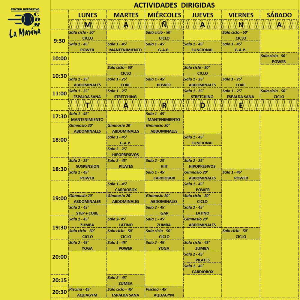 Nuevo horario de actividades de Invierno 2021